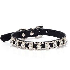 Черные маленькие ошейники для кошек, ожерелье с животными, аксессуары со стразами для поводка, товары для домашних животных, ошейник для соб...