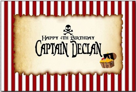 custom Pirate Human Skeleton Red And White Striped Party photo backdrop   Computer print birthday background|Background| |  - title=
