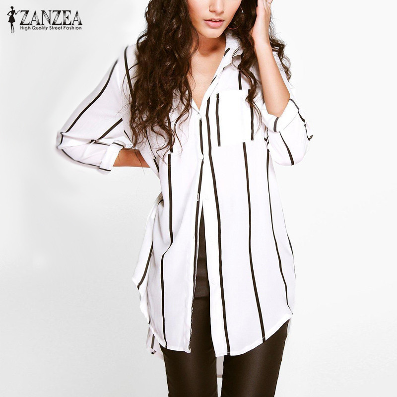 ZANZEA Women 2016 Autumn Sexy Casual Loose Long Blouse Shirts Turn-down Collar Long Slee ...