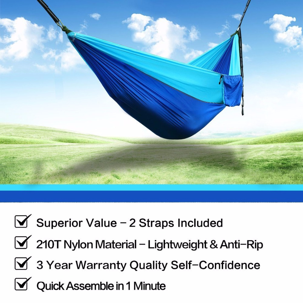 Image 3 - 210T Nylon Parachute Hammock Light Weight Outdoor Camping Portable Single Hammock with hammock ropes and hammock carabiners-in Hammocks from Furniture