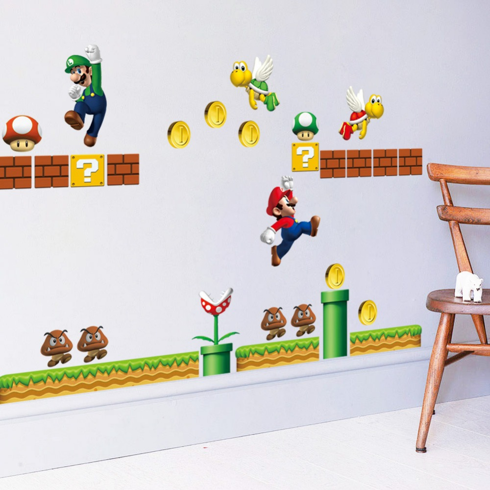 Super Mario Brothers Wall Decals Stickers Kids Bedroom Decorative 26 pc NEW