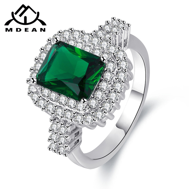 MDEAN White Gold Color Wedding Rings for Women Engagement green AAA Zircon Jewel