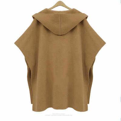 Модные женские зимние с капюшоном рукав летучая мышь Рукава Шерстяное Пальто Верхняя одежда плащ пончо накидка пальто темпераментная накидка шаль пальто женские