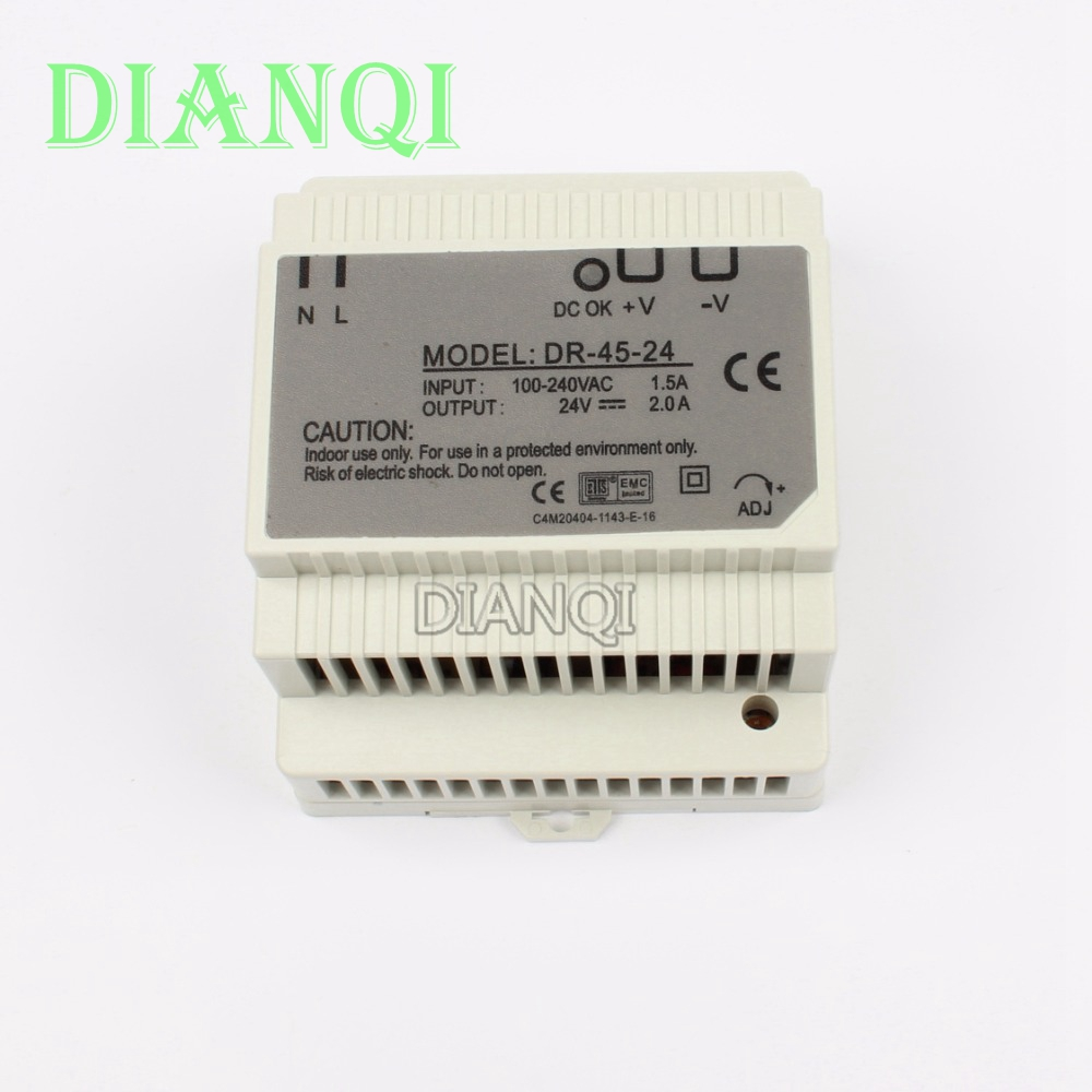 все цены на DIANQI Din rail power supply 45w 24V power suply 24v 45w ac dc converter dr-45-24 good quality онлайн