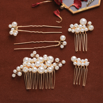 5 Pcs Tiara Hair Combs Pins Sets Gold Pearls Cheap Wedding Hair Accessories For Girl Party Pageant Bridal Women Hair Jewelry