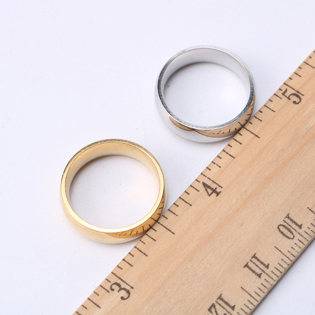 6mm Arc Glossy Couple Ring Stainless Steel Fashion Jewelry Accessories Gifts For Birthday Christmas Valentine's Day