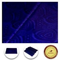 Miễn phí Vận Chuyển Royal Blue Handmade Ghalila Bazin Guinea Thổ Cẩm Phi Quần Áo Vải 100% Cotton 5 Yards Bán Sỉ Bán L
