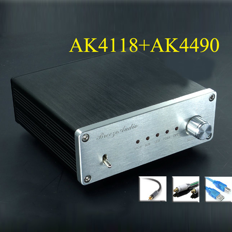 Finished AK4490+AK4118+XMOS USB DAC Asynchronous Hifi Audio Decoder Support Coaxial Optical USB 384K 32BIT input Free shipping цена