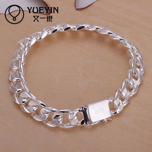 H032 New Women Silver Plated Charm Bracelet Sterling Jewelry Men Womens Las Bracelets Bangles Fashion Summer Bijoux In Chain Link