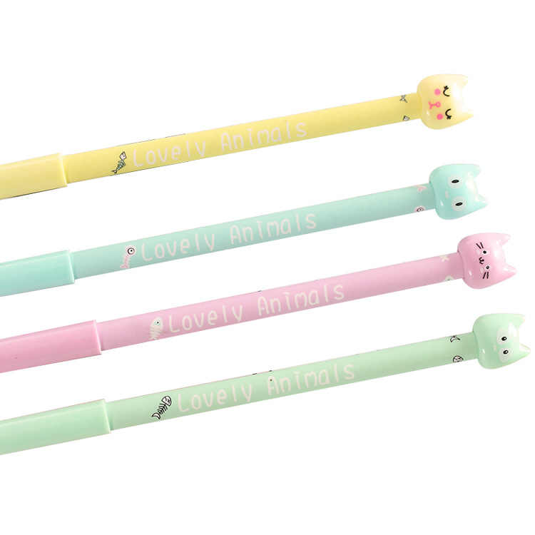 1 Pcs Creative Cartoon Cute Sugar-colored Cat Neutral Pen Water Pen Full Needle Water Pen Primary School Student Stationery