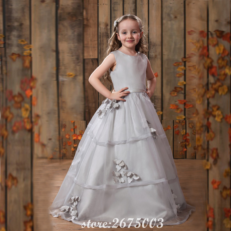 SINGLE ELEMENT 100% Real Photo Silver Flower Girl Dresses For Wedding Party Dress