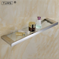 Mirror Polished SUS 304 Stainless Steel Glass Toilet Shelf Solid Square 55 CM Length for Single Layer Towel Rack