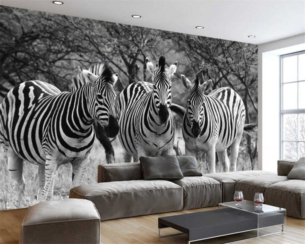 Personalized wallpaper living room, bedroom wall murals nostalgia retro black and white