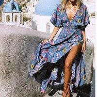 Ellacey New Summer 2019 Women Dress Peacock Print Deep V neck Long Dress Backless Split Maxi Dress Bohemian Resort Beach Dresses