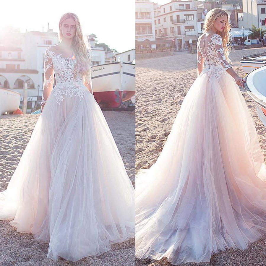 Fascinating Tulle Scoop Neckline See-through A-line Wedding Dress With Lace Appliques & Bowknot Long Sleeves Beach Bridal Dress