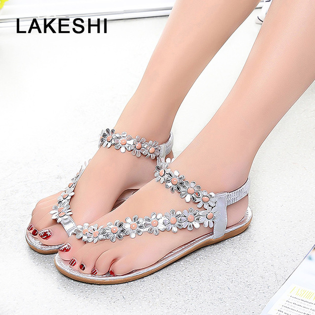 1af4f2a63503ac LAKESHI Flower Flip Flops Women Sandals Casual Flat Sandals Women Shoes  Fashion Ladies Sandals 2018 New