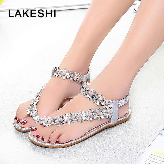 b86436958 LAKESHI Flower Flip Flops Women Sandals Casual Flat Sandals Women Shoes  Fashion Ladies Sandals 2018 New