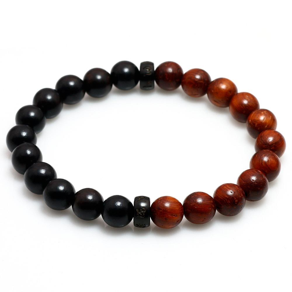 Natural Red sandalwood and Ebony Buddhist Male om Mani Padmes
