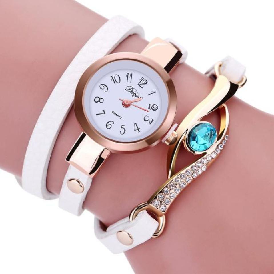 2018 Fashion Women Diamond Wrap Around Leatheroid Quartz Wrist Watch Women Watches Bracelet Watch Ladies relogio feminino