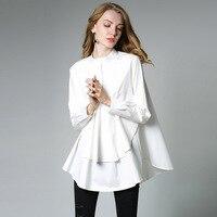 Хлопок Над Размеры Асимметричный рубашка Для женщин однотонные Стиль с длинным рукавом слоистых рубашки Осень плюс Размеры XL 4XL 5XL