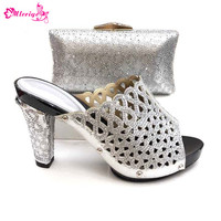 New Arrival Women Shoes and Bags To Match Set Italy Fashion Nigerian Women Wedding Shoes and Bag Set Decorated with Rhinestone