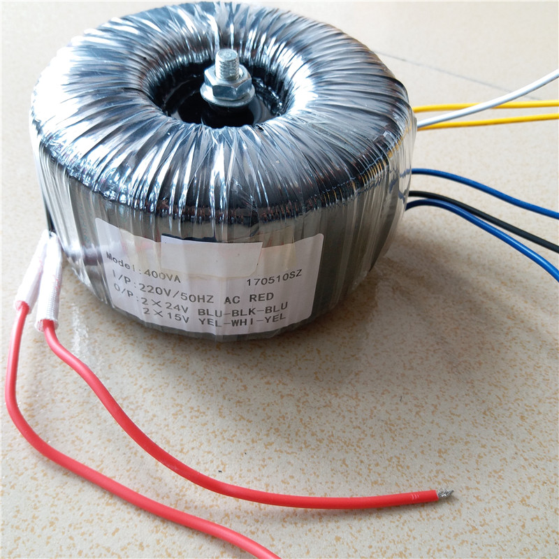 Ring transformer copper custom toroidal transformer 400VA output AC24V-0-24V 7A AC15V-0-15V 2A for power supply amplifier iwistao 300w toroidal transformer hifi power amplifier dedicated pure copper wire dual 33v