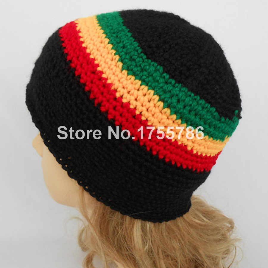 1pcs New Rasta Reggae Jamaica Bob Marley Stripes Tam Beanie Knitted Winter  Pull On Hat Cap 7441eff591ce