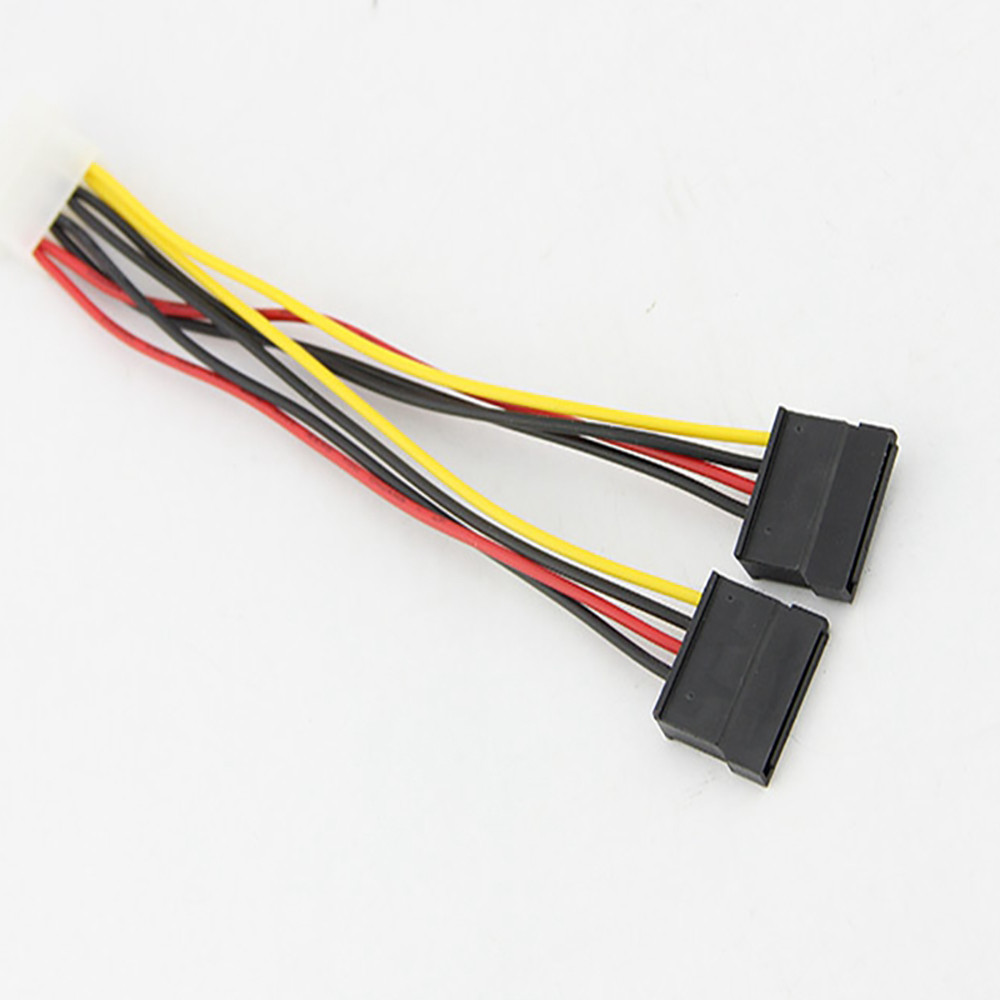 New 4Pin IDE Molex To 2 Serial ATA SATA Y Splitter Hard Drive Power Supply Cable Adapter  Drop Shipping 0312#2
