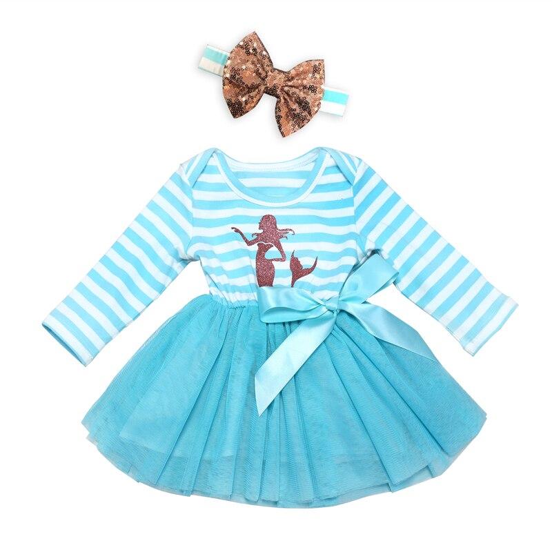 Fashion Spring Dresses Baby Girl Lace Dress Toddler Newborn Long Sleeve Dresses Kids Blue Striped Bow Dresses+Headband 2pcs Suit