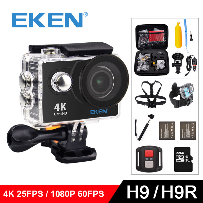 EKEN H9 / H9R Original Ultra FHD 4K 25FPS Wifi Action Camera 30M waterproof 2 Screen 1080p underwater go extreme pro sport cam wimius 20m wifi action camera 4k sport helmet cam full hd 1080p 60fps go waterproof 30m pro gyro stabilization av out fpv camera