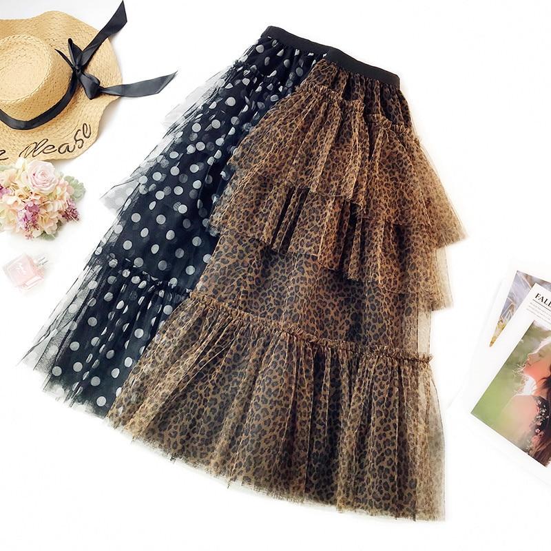8431f8babd2 Leopard Tulle Skirt Polka Dot mesh Skirt Women Tiered skirts Party Skirt  High Waist Saias Long Faldas Mujer plus size Ball Gown