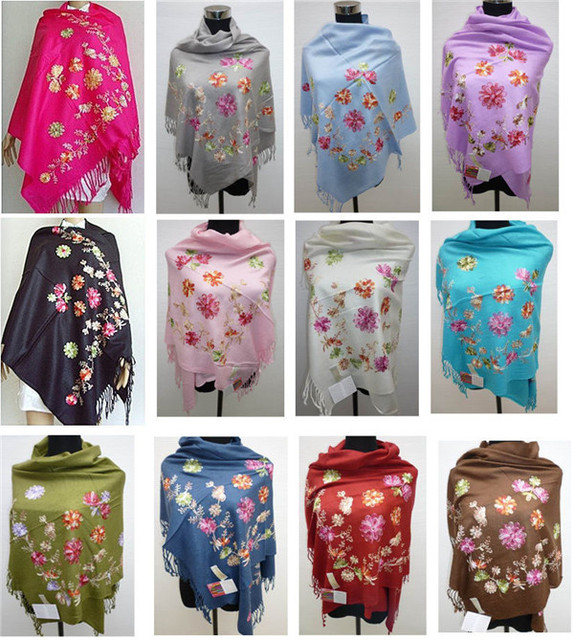 ... Kashmir-shawls-pear-green-wrap-hand-embroidery-floral- ...