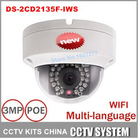 2015 New DS 2CD2135F IWS 3MP Mini Dome Camera IR Network IP Camera Support PoE And