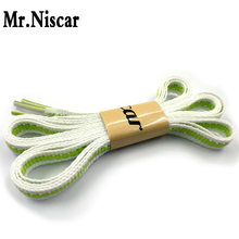 1 Pair Fluorescent Green Striped Flat Shoelaces Line White Silver Line Women Men Party Fashion Shoes Shoe Laces Strings 115cm
