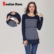 Emotion Moms Long Sleeve Maternity Tops New Casual  Feeding T-shirt Breastfeeding Clothes For Pregnant Women Nursing top