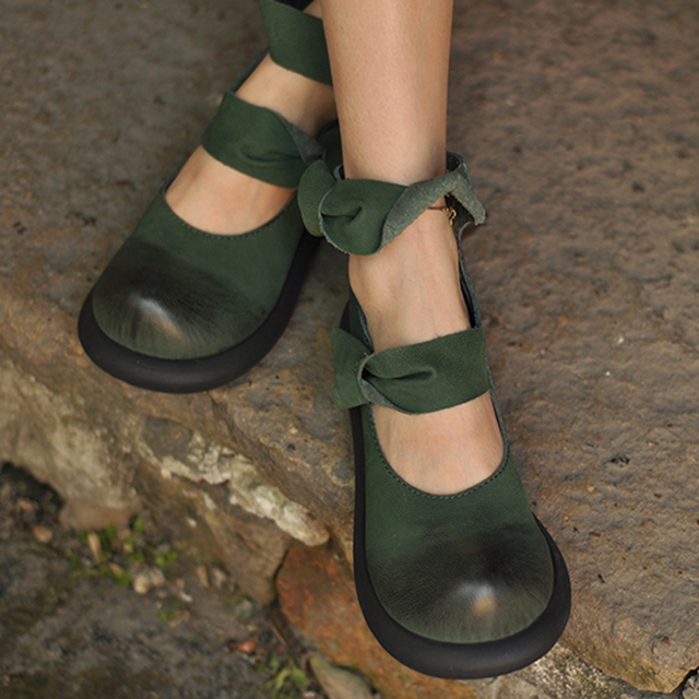 Women's Leather Wedge Heel Shoes