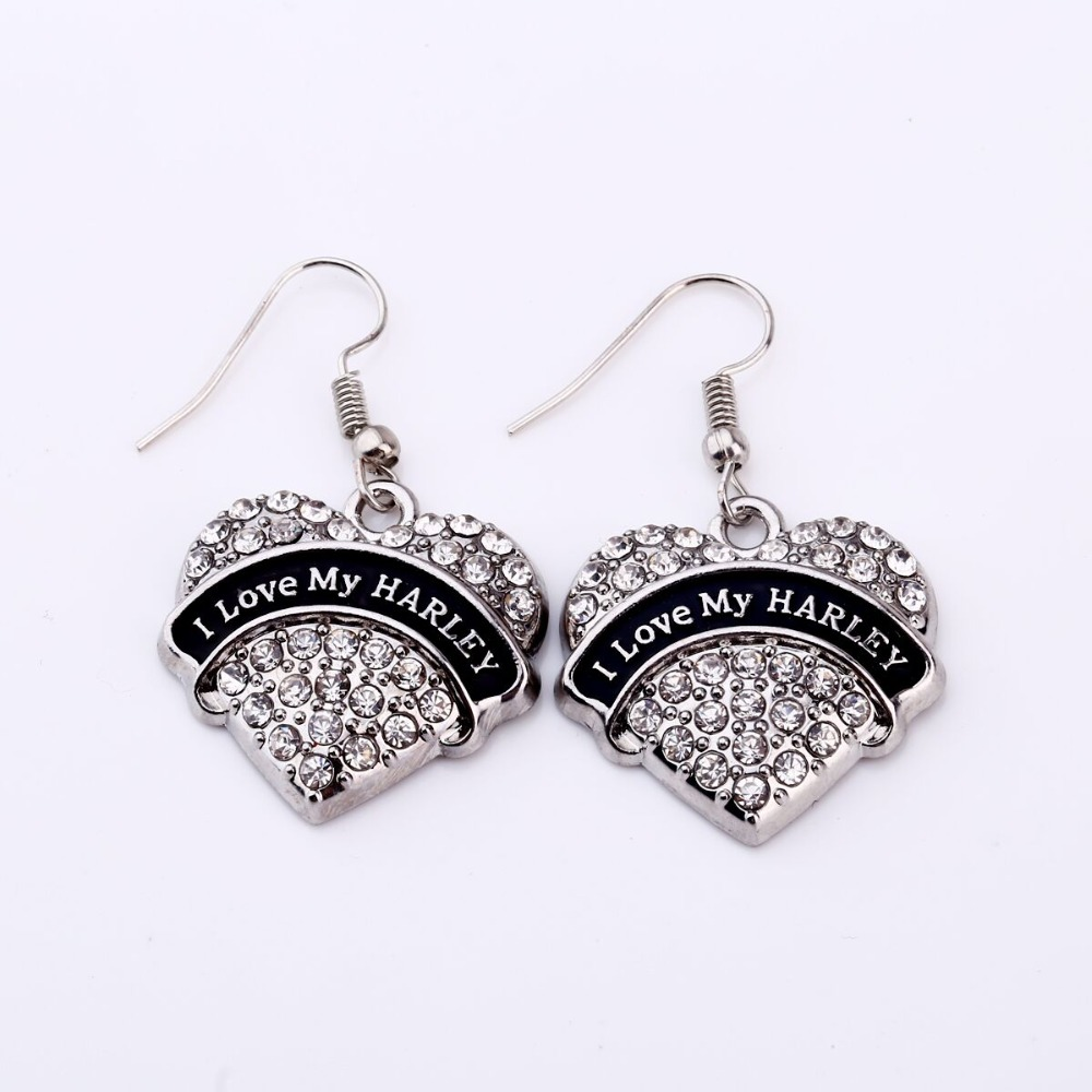 I LOVE MY HARLEY  Crystal Heart Shaped Pendant French Hook Earrings