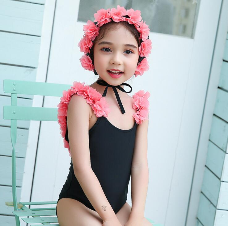 Swimwear Ins Baby Girls Swimwear With Caps Lovely Bebe Flamingo Pattern Infant Beach Suit One Piece Toddler Suit Clothing Beautiful In Colour