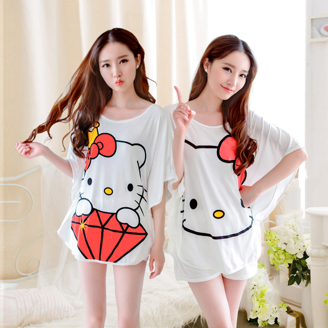 Summer Casual Tracksuit Pajamas 2 PcTracksuits Sets Pregnant Women Hello  Kitty Bat Sleeve Tops +Shorts Sleepwear Clothing Set 3eaa639f8