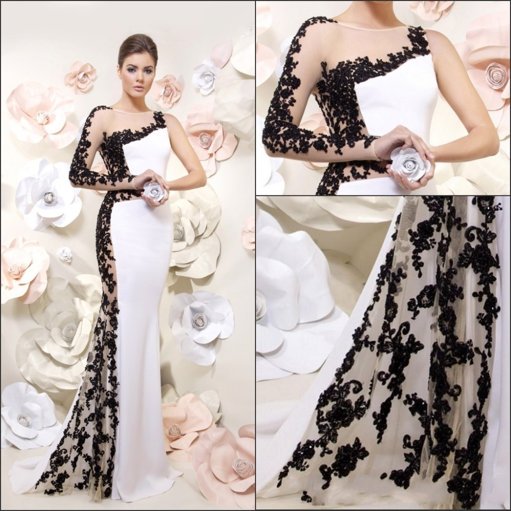 2014 Hot Sale Long Sleeves Chiffon Mermaid White Lace Formal Evening ...