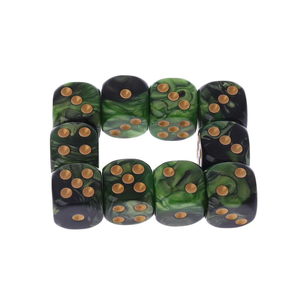 10 Pcs 16mm Resin <font><b>Dice</b></font> <font><b>D6</b></font> Black <font><b>Green</b></font> Gold Points Round Edges KTV Bar Nightclub Entertainment Tools Adult Toys image