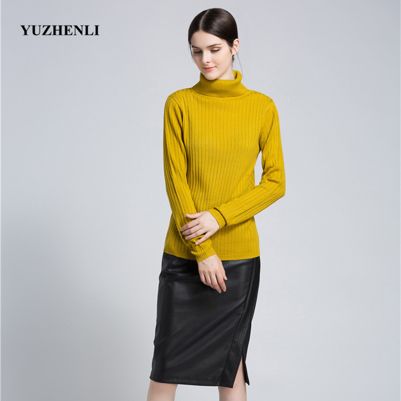 Yuzhenli New High Collar Women Sweater Pullovers Autumn Winter 2018 Woman Sweaters Long Sleeve Warn Wool Knitted Female Pullover thumbnail