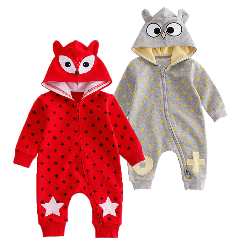 New Born Baby Hooded Overalls Newborn Rompers Toddler Boys Girls Long Sleeve Animal Halloween Costume Baby Warm Infant Jumpsuit