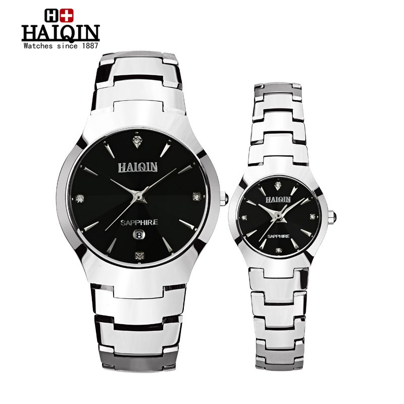 A pair of Brand Luxury HAIQIN Quartz Watch lovers Watches Women Men Dress Watches Tungsten Steel Fashion Casual Wristwatches onlyou brand luxury fashion watches women men quartz watch high quality stainless steel wristwatches ladies dress watch 8892