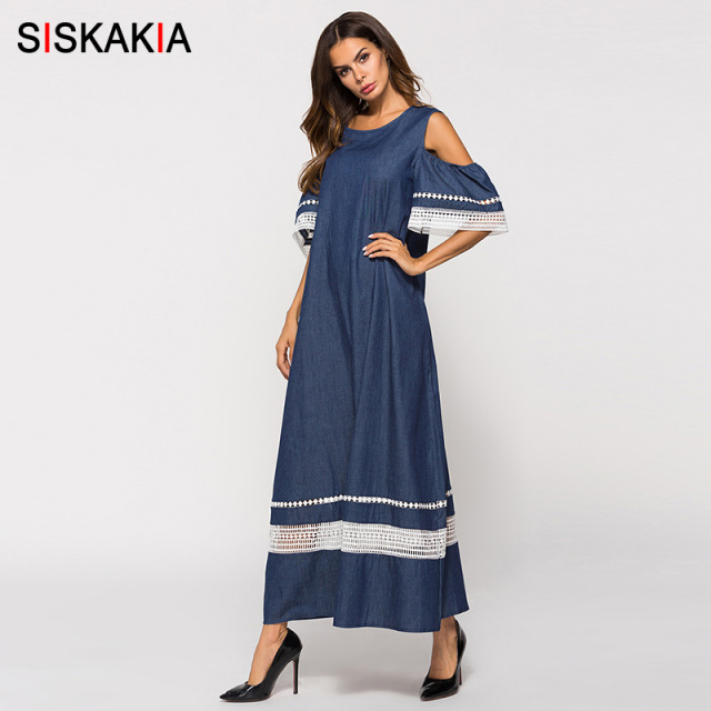 Siskakia ladies Denim Dress Blue cold shoulder Lace hollow out patchwork design A line long dress summer 2018 women maxi dresses