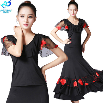 Ladies Ballroom Dance Costume Waltz Dance Performance Set Modern Competition Suit Tango Tops & Skirt Free Shipping 4 Colors