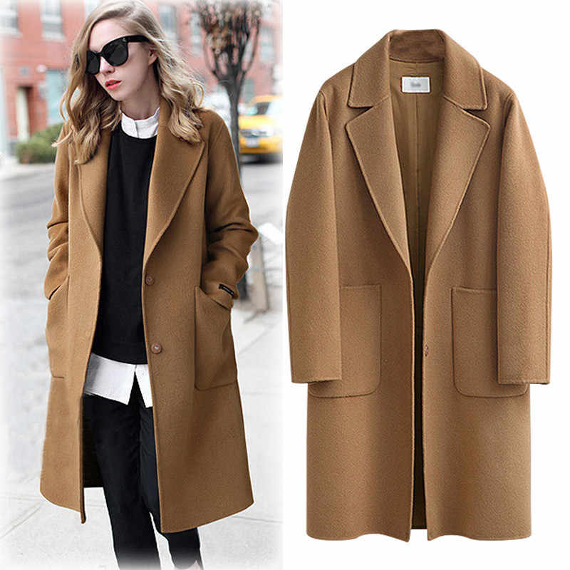 616dcb174fd Women s Casual Woolen Coat 2019 Spring Autumn Large Size Loose Blend Winter  Jacket Long Sleeve Plus