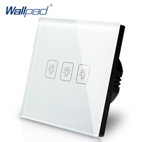 Wallpad Luxury White Crystal Glass Wall Switch Touch Switch Normal 3 Gang 1 Way Switch AC