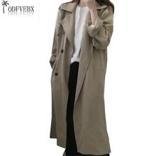 2018 Printemps Automne Nouveau Plus Taille Lâche Coupe-Vent Femmes De Mode  Longue Section Taille Lady Manteau Ceinture Étudiant . 47c2d530511