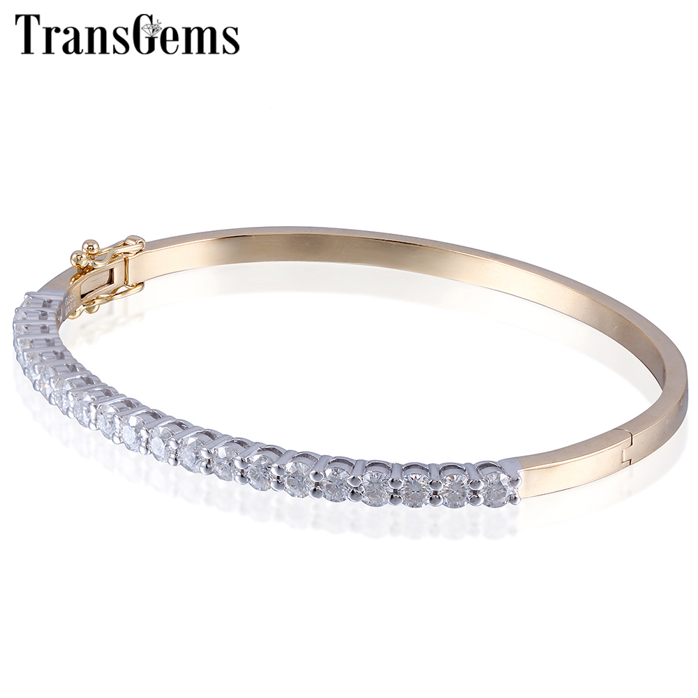 Transgems 14K 585 Yellow Gold and White Gold Two Tones 2CTW F Color 3mm Moissanite Bangle Bracelets for Women Fine Jewelry 3ct moissanite two tones emgagement ring 14k 585 white gold and yellow gold 9mm diameter f color wedding ring for women